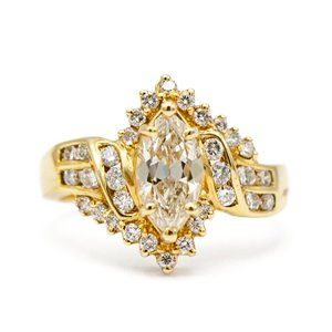 Jewelry - 14k Yellow Gold Marquise Diamond Engagement Ring